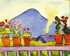 August Macke (German, 1887–1914) Geraniums Before Blue Mountain, 1911