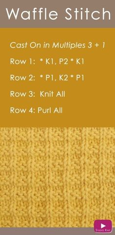 How to Knit the Waffle Stitch 2019 How to Knit the Waffle Stitch with Free Knitting Pattern Video Tutorial by Studio Knit The post How to Knit the Waffle Stitch 2019 appeared first on Knitting ideas. Loom Knitting Projects, Knitting Stiches, Easy Knitting Patterns, Knitting Needles, Knitting Yarn, Free Knitting, Baby Knitting, Stitch Patterns, Knit Stitches