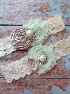 Wedding garter SET / taupe rosette - mint chiffon / wedding garters/ bridal  garter/  lace garter / toss garter