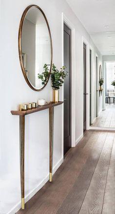 Narrow Hallway Decorating, Narrow Entryway, Hallway Ideas Entrance Narrow, Foyer Decorating, Modern Hallway, Decorating Ideas, Entryway Ideas, Hallway Mirror, Entrance Hall