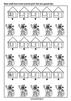 naar welk huis moet zwarte piet? |Pinned from PinTo for iPad| Diy For Kids, Crafts For Kids, Act Math, Saint Nicolas, Math Worksheets, Preschool Activities, Coloring Pages, Teacher, Letters