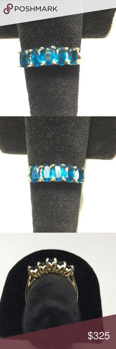 Rare Exotic Neon Blue Apatite Deeper Blue Shade This Rare Neon Blue Apatite Band Style Ring is so Lovely.   5  -  5x4  Gems. Set in 14K Yellow Gold. Designer Band.  Beautiful Detail on each side. This is a Delicate Gemstone. Well worth the Special Care  needed when wearing. .  NWOT. Rare Apatite Gems Jewelry Rings