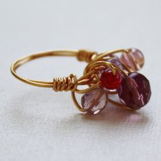 Cluster ring cocktail ring berry glass gold by collscreations, $15.00