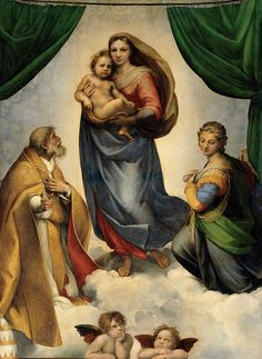 """Sistine Madonna, Gemäldegalerie Alte Meister, Dresden Raphael Large image: HERE . From Wiki: """"Sistine Madonna, also called La Madonna di San Sisto, is an oil painting by the Italian artist. Italian Renaissance Art, Renaissance Kunst, Renaissance Paintings, Sistine Madonna, Italian Painters, Italian Artist, Michelangelo, Rembrandt, Renaissance"""