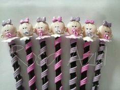 Lapices decorados para baby shower o nacimientos