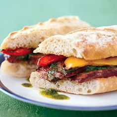 Grilled Steak Sandwiches with Chimichurri and Bell Peppers Recipe