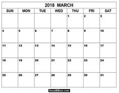 March Calendar 2018  http://socialebuzz.com/march-2018-calendar-printable-template/