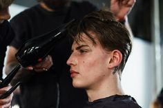 Lewis Chesson-Grieve backstage at Christopher Raeburn AW15 #LCM #AW15 #ChristopherRaeburn #hair #makeup #menswear #nevsmen #nevsshows #backstage