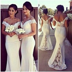 Buy New Arrival 2015 White Bridesmaid Dresses Off Shoulder Long Mermaid Prom Gowns Lace Top Backless Wedding Party Dress Vestido De Madrinha Online with the Low Price: $140.9 | DHgate.com