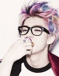 Sehun EXO I definitely love the rainbow hair.