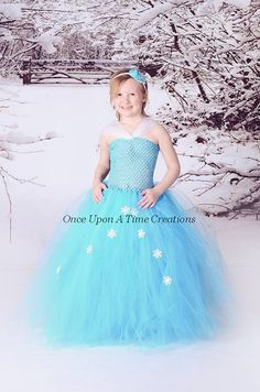 Elsa Inspired Frozen Princess Tutu Dress  por OnceUponATimeTuTus