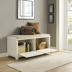 Family-Friendly Decorating Idea: Add a white storage bench with drawers in the entryway for shoes, sports gear, school stuff, and anything else your family needs on the go White Bench Entryway, White Storage Bench, Entryway Bench Storage, Diy Storage, Fabric Storage, Shoe Storage, Cabinet Storage, Storage Drawers, Storage Ideas
