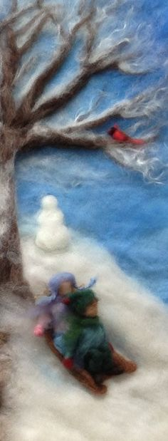 It is an endless winter. I want to go to this place of childhood wonder where more snow is a joy and a gift from nature.  Waldorf Seasons Needlefelt Wool Painting by ClaudiaMarieFelt
