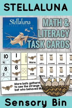 Stellaluna Activities - A favorite read aloud! My first graders LOVE Stellaluna and this sensory bin based on this beautiful picture book! Story vocabulary, mentor sentence, and more based on Janell Cannon's beloved book. From Positively Learning Blog #stellaluna #batactivities #sensorybins