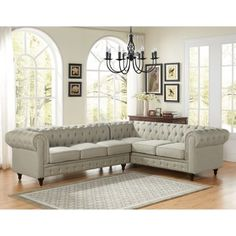 US Pride Furniture Sophia Classic Button Tufted Fabric Upholstered 2-PC Left-Facing Sectional Sofa, Beige