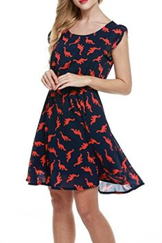 30183ce29a Meaneor Women s Round Neck Short Sleeve Fit and Flare Swing Dinosaur Print  Dress (XXL