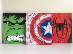 Marvel Superhero Canvas Set Spiderman Incredible Hulk Captain America Set of 3 Superhero Canvas, Marvel Canvas, Avengers Painting, Marvel Paintings, Diy Canvas Art, Canvas Paintings, Guache, Marvel Comics, Marvel Room