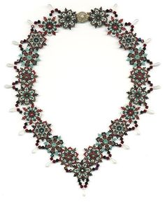 (5) Name: 'Jewelry : Snowflake and Icicle Beadwoven Necklace