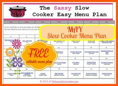 Slow Cooker Family Friendly Menu Plan with Recipe Links – May http://www.thesassyslowcooker.com/slow-cooker-family-friendly-menu-plan-recipe-links-may/