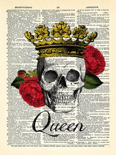 Skull Queen Rose Crown Flower Art Print Vintage by PrintsVariete || Tattoo idea (only the crown)