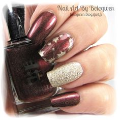 Nail Art by Belegwen: A England Briarwood, China Glaze Passion and Lumene Sandy Brook. Stamping plate is W210.
