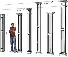 Tapered columns non tapered fiberglass columns exterior for Decorative wood columns interior