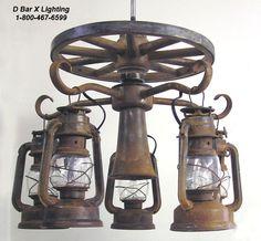 Wooden Wagon Wheel ceiling fan light kit with 5 lanterns Southwestern Lamps, Wooden Wagon Wheels, Living Simple Life, Antler Lights, Antique Light Fixtures, Rustic Basement, Rustic Lighting, Unique Lighting, Fan Light Kits
