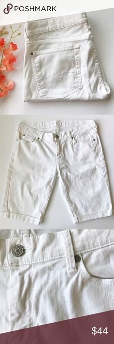"7 For All Mankind White Capris White denim • cuffed • when laying flat approximately: waist 17"", rise 8.5"", inseam 11.5"" • accepting all reasonable offers! 7 For All Mankind Jeans"