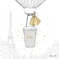 "2,135 Likes, 21 Comments - Megan Hess (@meganhess_official) on Instagram: ""Today I'm dreaming of the perfect DIOR Coffee.....two shots of pale grey and a little sprinkle of…"""