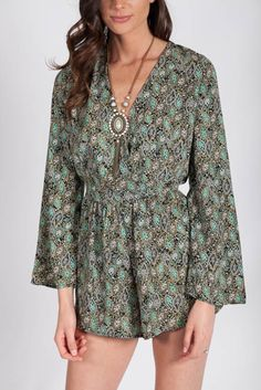 Lotus Boutique - Green Paisley Print Romper  #Playsuits, #SpringDreams, #green, #longsleeve, #mint, #paisley, #playsuit, #print, #printed, #romper