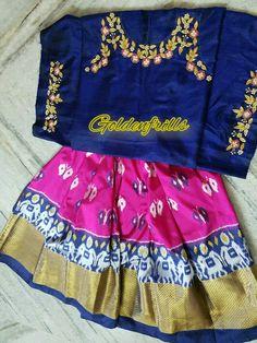 ##Ikkat lovers... #pattu lehenga wid zardosi n thread work #blouse....##stunning color combi...##customised @Goldenfrills