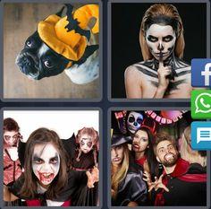 4 Fotos 1 Palabra Niños Disfrazados de Vampiros Perro Gorro Naranja de Halloween Mujer Pintada de Esqueleto Niños Draculas Gente disfrazada personas - Enigma Diario Octubre 7 Letras