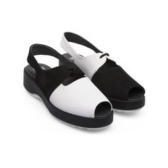 This funky suede & leather platform sandal in modern black & white with a peep toe is typical of the Camper 'Twins' collection. The 2 shoes varies in design yet are the same in style. Camper Twins, Popup Camper, New Life, Summer Collection, Fashion Boutique, Suede Leather, Balenciaga, Peep Toe, The Unit