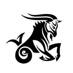 Amazing Black Ink Tribal Capricorn Tattoo Design and information related to it.