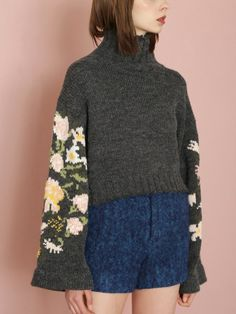 Flower sleeve sweater (knit) | FURFUR (fur fur) | fashion mail order | rabbit online official mail order site