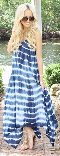 Billabong Blue Daze Tie-dye Handkerchief Maxi Cami Dress by A spoonful of Style