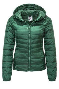 965cd77d4b ONLY Damen Steppjacke Übergangsjacke Kapuzenjacke Leichte Jacke (XS, Hunter  Green) - Winter Outfits