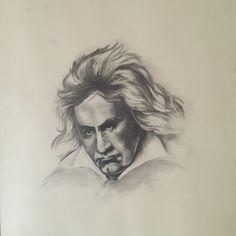Beethoven, potloodtekening. Plm 1975