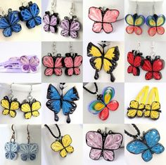 a rainbow of paper quilling butterfly jewelry