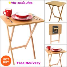 Table Folding Snack Portable Wooden Trays Dining Laptop Food Drink Kitchen Kids