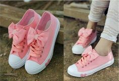 Pink converse with cute bow!want them!