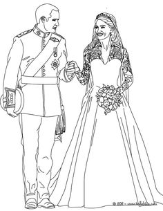 The Royal Wedding coloring page, More Kate and William content on hellokids.com
