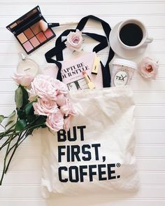 But first, coffee. Flat Lay. With a bit of blush and fresh pink rose bouquet