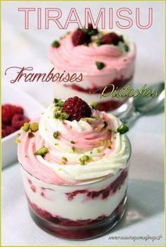Tiramisu framboises pistaches Vegan Dessert Recipes, Easy Cake Recipes, Baking Recipes, Raspberry Tiramisu, Tiramisu Cake, Chocolate Fruit Cake, Fruit Cake Design, Fresh Fruit Cake, Mousse