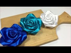Hand Embroidery, Easy Ribbon Flower Making Idea, Ribbon Tricks - Free Online Videos Best Movies TV shows - Faceclips Diy Lace Ribbon Flowers, Ribbon Flower Tutorial, Ribbon Art, Diy Ribbon, Ribbon Crafts, Flower Crafts, Paper Flowers, Satin Ribbon Roses, Hand Embroidery Flowers