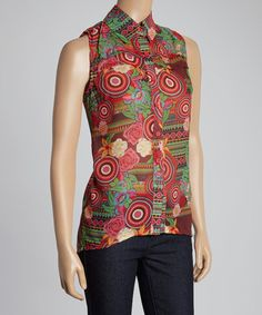 Loving this Wine Garden Art Sleeveless Button-Up - Women on #zulily! #zulilyfinds