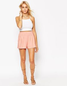 Buy it now. ASOS Pleated Culotte Shorts - Pink. Shorts by ASOS Collection, Soft-touch jersey, High-rise waist, Elasticated waistband, Pleat detailing, Regular fit - true to size, Machine wash, 97% Viscose, 3% Elastane, Our model wears a UK 8/EU 36/US 4 and is 168cm/5'6 tall. ABOUT ASOS COLLECTION Score a wardrobe win no matter the dress code with our ASOS Collection own-label collection. From polished prom to the after party, our London-based design team scour the globe to nail your…