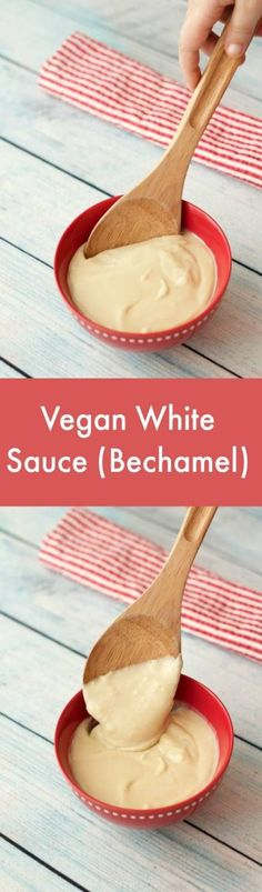 Vegan white sauce recipe, also known as bechamel sauce. Basic 3 ingredient recipe that you can expand on with different flavorings. Creamy and delicious. Vegan Sauces, Vegan Foods, Vegan Dishes, Dairy Free Recipes, Vegan Recipes, Cooking Recipes, Diet Recipes, Gluten Free, Dairy Free Lasagna