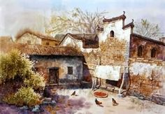 Chinese Village Countryside Painting