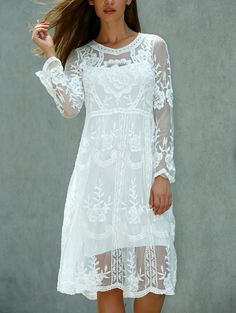 Crochet Knee Length Lace Dress with Long Sleeves - White Sheer Wedding Dress, Wedding Dresses, Lace Wedding, Formal Dresses, Vetements Clothing, Crochet Lace Dress, Macrame Dress, Crochet Shoes, Dress Me Up